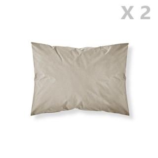 2 Taies d'oreiller Mastic - 100% coton 57 fils - 50 x 70 cm - Taupe