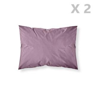 2 Taies d'oreiller Figue - 100% coton 57 fils - 50 x 70 cm - Violet