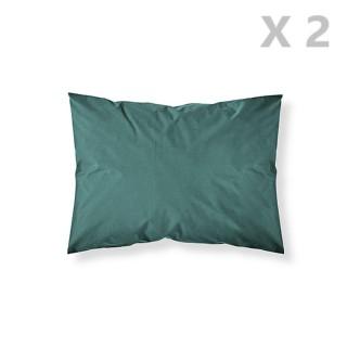 2 Taies d'oreiller - 100% coton 57 fils - 50 x 70 cm - Vert émeraude