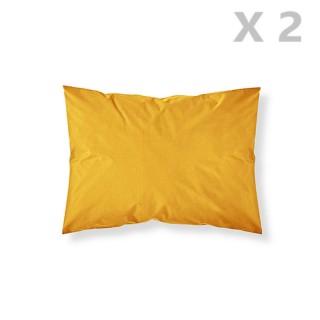 2 Taies d'oreiller Safran - 100% coton 57 fils - 50 x 70 cm - Jaune