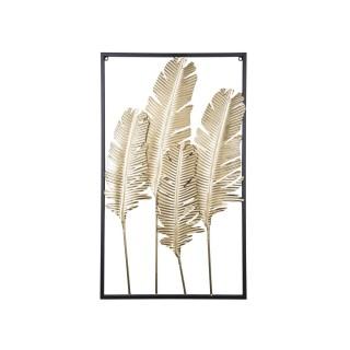 Décoration murale design métal Feathers - L. 53 x l. 89 cm - Noir et doré