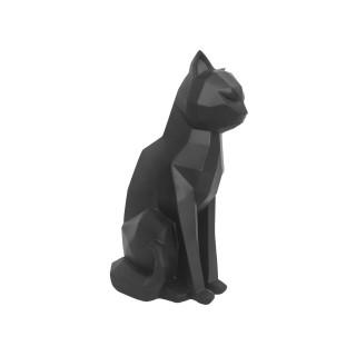 Satuette chat assis design Origami - Noir mat