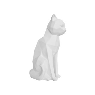 Satuette chat assis design Origami - Blanc mat