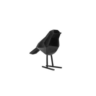 Statuette oiseau design floqué Origami small - Noir