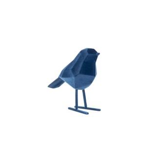 Statuette oiseau design floqué Origami small - Bleu