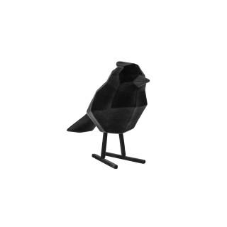 Statuette oiseau design floqué Origami - Noir