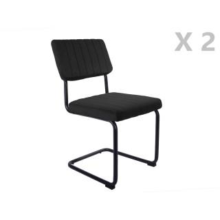 2 Chaises cantilevers design velours Keen - Noir