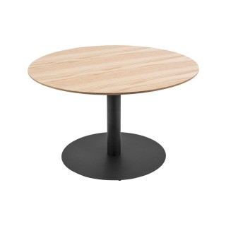 Table basse ronde design Dot - Diam. 60 x H. 35 cm - Marron chêne