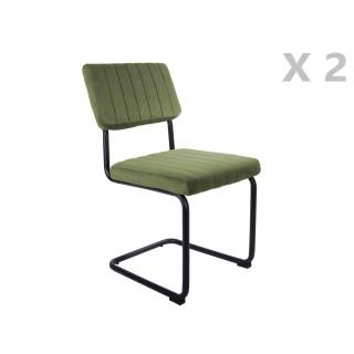 2 Chaises cantilevers design velours Keen - Vert