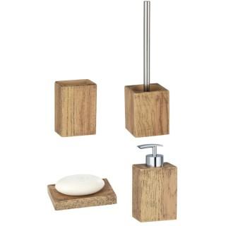 Set accessoires de salle de bain design bois Marla - Marron