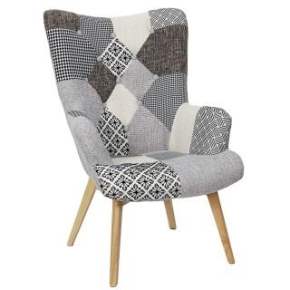 Fauteuil de salon design patchwork Helsinki - Gris