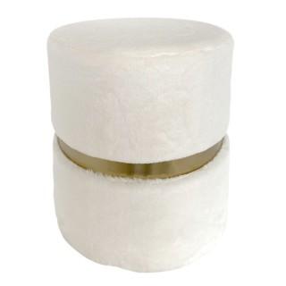 Pouf design effet fourrure Aurea - Diam. 35 x H. 42 cm - Blanc