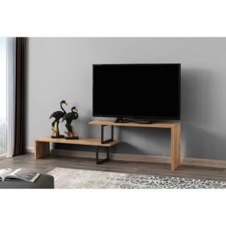 Meuble TV design industriel Ovit - L. 120 x H. 45 cm - Marron