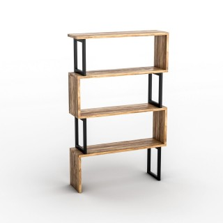 Etagère bibliothèque design industriel Ceylan - L. 80 x H. 128 cm - Noir