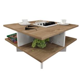 Table basse design scandinave Hamton - L. 60 x H. 31 cm - Marron noix
