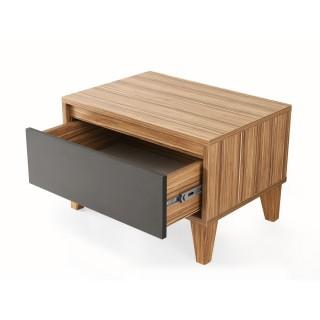 Table de chevet design bois Samba - L. 60 x H. 44 cm - Gris anthracite