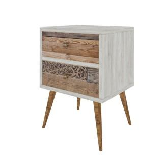 Table de chevet design scandinave Malmö - L. 40 x H. 63 cm - Blanc