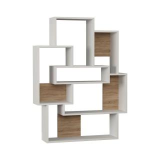 Etagère bibliothèque design bois Barce - L. 101 x H. 132 cm - Blanc