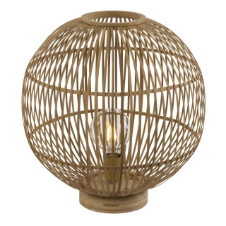 Lampe à poser design bambou Hildegard - Diam. 40 x H. 42 cm - Beige naturel