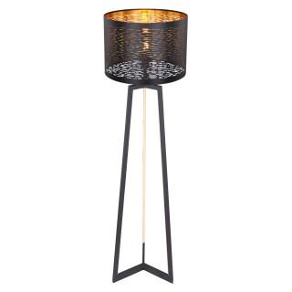Lampadaire design Tunno - H. 151 cm - Noir et doré
