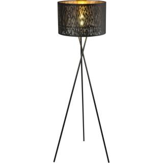 Lampadaire en velours design trepied Tuxon - Diam. 40 x H. 160 cm - Noir