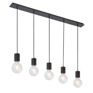Suspension design métal Hermine - 5 Ampoules - Noir