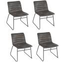 Lot de 4 Chaises de table design velours Brooklyn - Gris