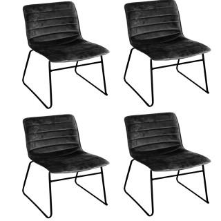 Lot de 4 Chaises de table design velours Brooklyn - Noir