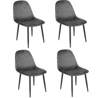 Lot de 4 Chaises de table design velours Inoui - Gris