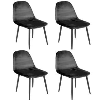 Lot de 4 Chaises de table design velours Inoui - Noir