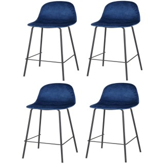 Lot de 4 Tabourets de bar design velours Ima - Bleu