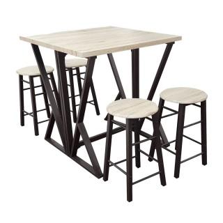 Table haute avec tabourets design industriel Dock - 4 Personnes - Noir