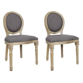 2 Chaises de table design médaillon Eleonor - Gris