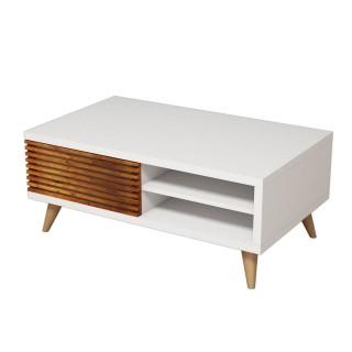 Table basse Grande 100 cm - Marron noix et Blanc
