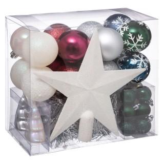 Kit déco pour sapin de Noël - 44 Pièces - Blanc, vert, bleu et argent