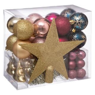 Kit déco pour sapin de Noël - 44 Pièces - Doré, rose et bleu
