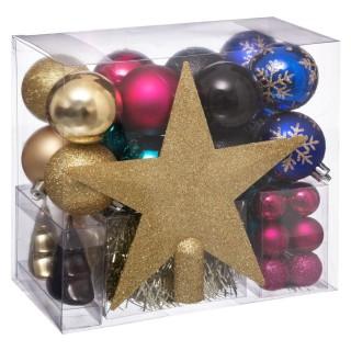 Kit déco pour sapin de Noël - 44 Pièces - Doré, rose, noir et bleu