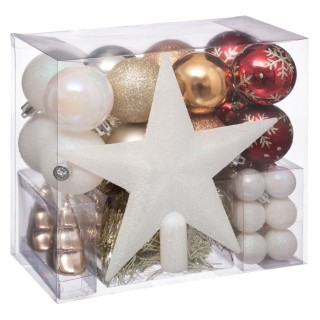 Kit déco pour sapin de Noël - 44 Pièces - Blanc, doré, cuivré et rouge