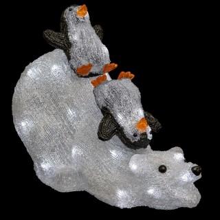 Décoration extérieure lumineuse de Noël Ours - L. 54 x H. 35 cm - Blanc