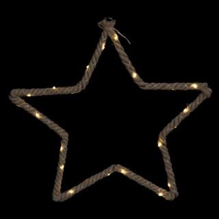 Décoration lumineuse de Noël en corde Etoile - L. 48 x H. 50 cm - Marron