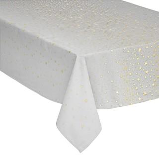 Nappe design étoiles de Noël - L. 240 x l. 140 cm - Blanc et or
