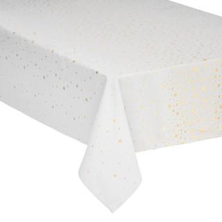 Nappe design étoiles de Noël - L. 360 x l. 140 cm - Blanc et or