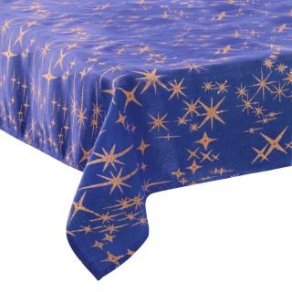 Nappe étoiles de Noël Caneva - L. 140 x l. 360 cm - Bleu nuit