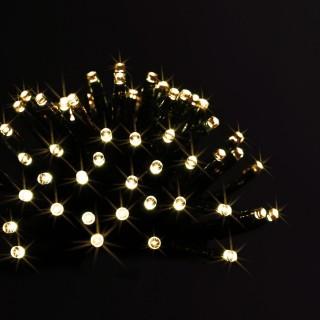 Guirlande extérieure de Noël à piles LED - L. 1400 cm - Blanc chaud