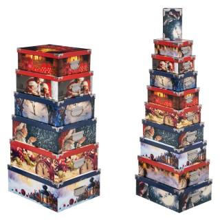 16 Boîtes pour cadeaux de Noël Tradition - Rouge et bleu