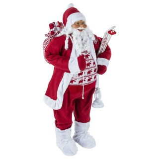 Décoration figurine Père Noël debout - H. 124 cm - Rouge