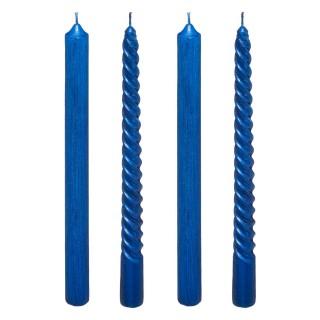 4 Bougies bâtons design Noël Colorama - 5,5 H - Bleu