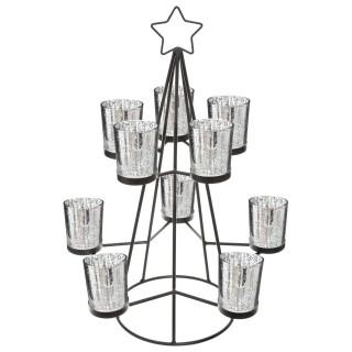 Photophore de Noël design métal Sapin - Noir