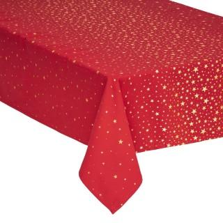 Nappe design étoiles de Noël - L. 240 x l. 140 cm - Rouge et doré