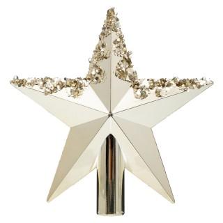 Cimier pour sapin de Noël design Etoile - Doré brillant